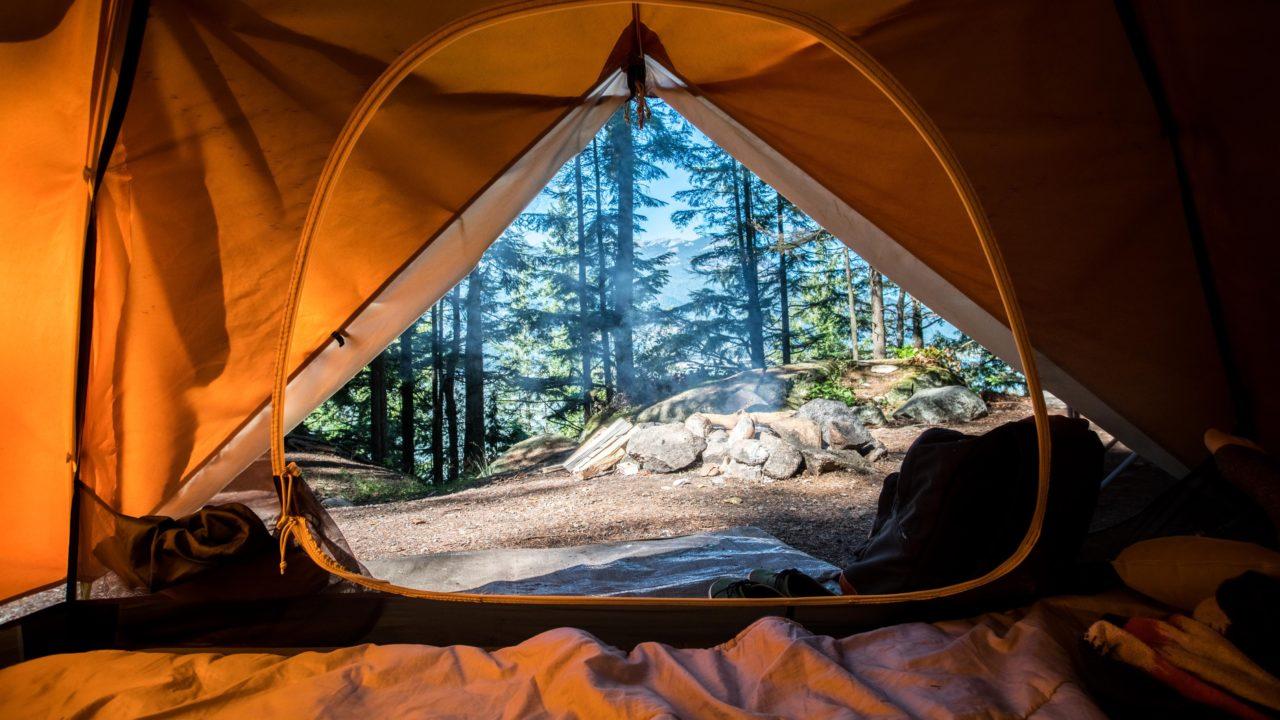 テントから見えるキャンプ場